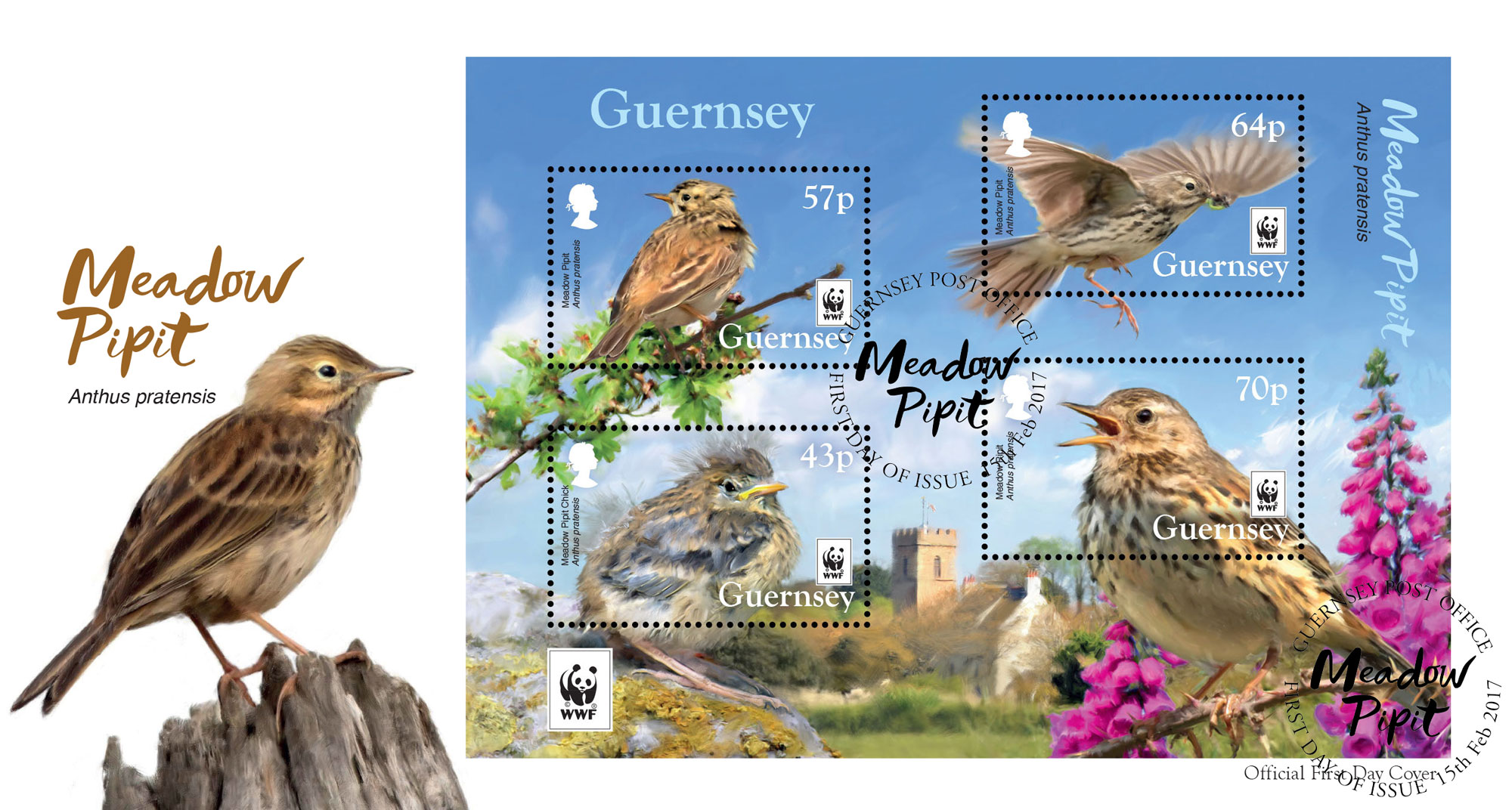 2017 WWFMeadow Pipit FDC with sheet