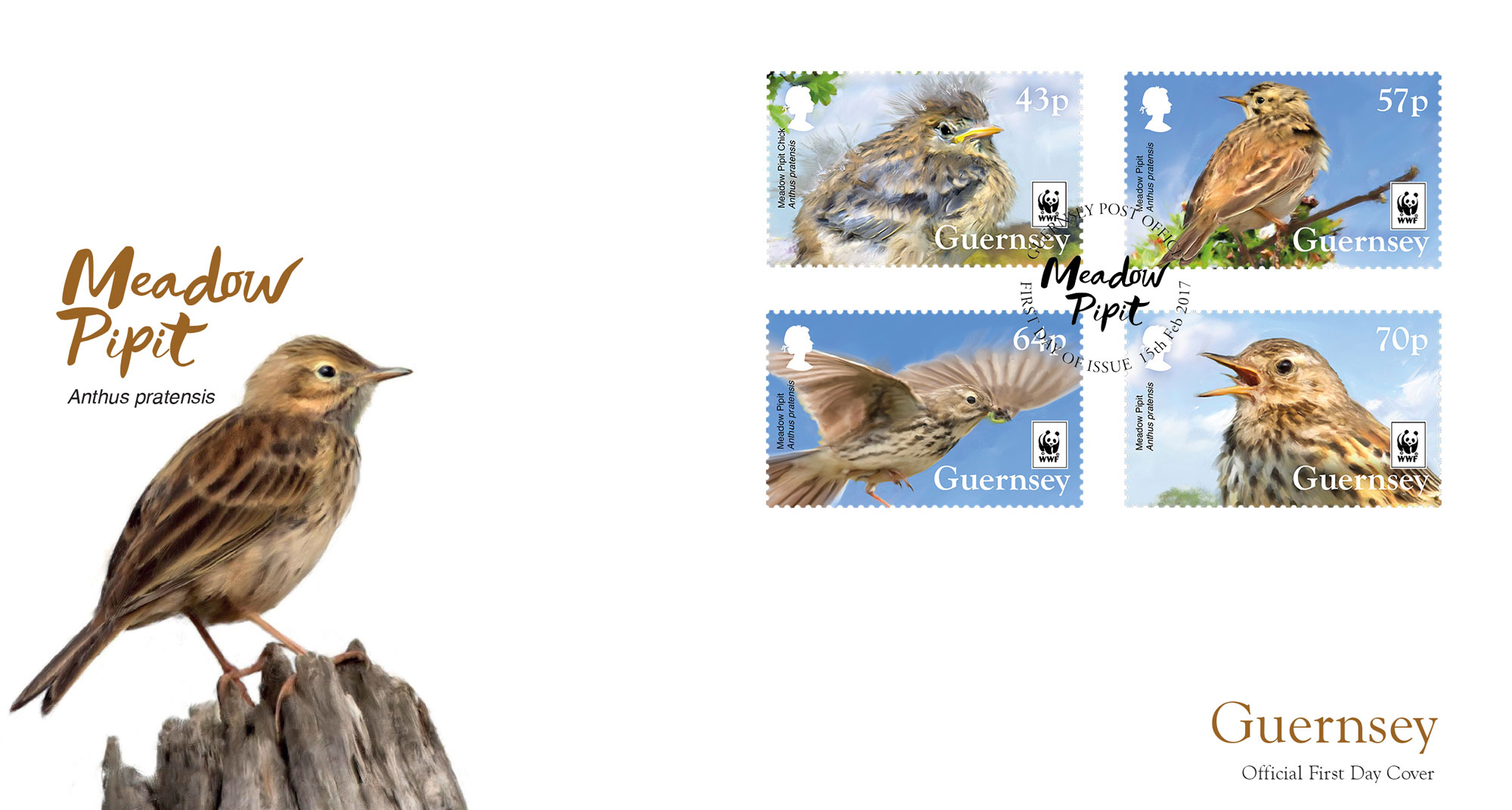 2017 WWFMeadow Pipit FDC with stamps
